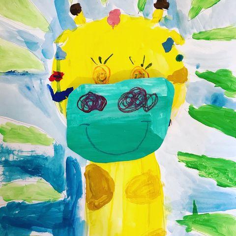 Die süße Giraffe in 3D für Kinder zuhause